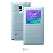 Funda Para Samsung Galaxy Samsung Galaxy Note con Ventana Flip Funda de Cuerpo Entero Color sólido Cuero de PU para Note 4