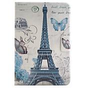 Etui Til iPad Mini 4 Kortholder med stativ Heldekkende etui Eiffeltårnet PU Leather til iPad Mini 4