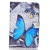 Etui Til Samsung Galaxy Samsung Galaxy Etui Kortholder Lommebok med stativ Flipp Mønster Heldekkende etui Sommerfugl PU Leather til Tab E