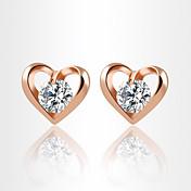 Pendientes cortos Cristal Circonita Zirconio Zirconia Cúbica Legierung Estilo Simple Moda Forma de Corazón Dorado Plata Joyas Diario 1 par