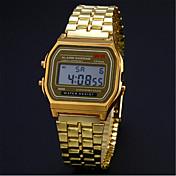 Hombre Reloj digital Reloj de Pulsera Reloj Pulsera Reloj de Vestir Digital Reloj Casual Acero Inoxidable Banda Encanto Plata Dorado