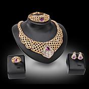 Mujer Juego de Joyas Piedras Moda Joyería de Lujo Piedras preciosas sintéticas 18K de oro Diamante Sintético Pendientes Collar Brazalete