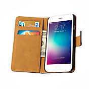 Funda Para Apple iPhone 6 iPhone 6 Plus Soporte de Coche Cartera con Soporte Flip Funda de Cuerpo Entero Color sólido Dura piel genuina