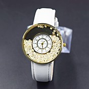Mujer Reloj de Moda Simulado Diamante Reloj Reloj de Cristal Pavé Cuarzo PU Banda Flor Negro Blanco