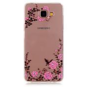 Para Funda Samsung Galaxy Carcasa Funda Diamantes Sintéticos Transparente Diseños Cubierta Trasera Funda Flor TPU para SamsungA5(2016)