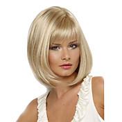 Pelucas sintéticas Recto Corte Bob / Con flequillo Pelo sintético Resistente al Calor / Parte lateral Rubio Peluca Mujer Corta Sin Tapa