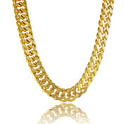Hombre Collares de cadena - Chapado en Oro Dorado