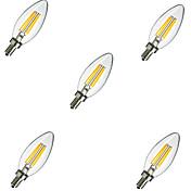 5pcs 2 W 220 lm E14 LED-glødepærer C35 4 LED perler Høyeffekts-LED Dekorativ Varm hvit / Kjølig hvit 220-240 V / 5 stk. / RoHs / CCC