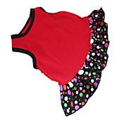 Perro Vestidos Ropa para Perro A Lunares Corazón Negro / Rojo Algodón Disfraz Para mascotas Verano Mujer Moda