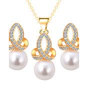 Juego de Joyas Perla artificial Joyería de Lujo Perla La imitación de diamante Legierung Copo de Nieve Dorado Plata1 Collar 1 Par de