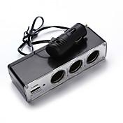 Unviersal nuevo 3 vías coche encendedor socket divisor cargador adaptador de corriente dc + usb puerto enchufe 12v-24v
