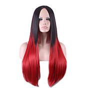 Harajuku negro rojo pelucas peluca ombre Pelo pelucas sintéticas naturales rectas a prueba de calor de halloween pelucas cosplay perruque