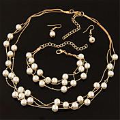 Mujer Juego de Joyas Pendientes colgantes Collares de cadena Collar con perlas Perla Forma de Círculo Multi capa Nupcial Elegant Moda