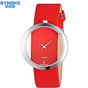 SYNOKE Mujer Reloj de Moda Cuarzo Resistente al Agua PU Banda Casual Negro Blanco Rojo