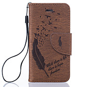 Para iPhone 8 iPhone 8 Plus Funda iPhone 5 Carcasa Funda Soporte de Coche Flip Diseños Cuerpo Entero Funda Plumas Dura Cuero Sintético