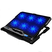 LED skjerm 6 vifter justerbar kjøligere kjølepute laptop kjøle stativ