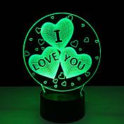 아크릴 7 색 변화 USB 충전 3d 심장 난 당신이 3 차원 발광 장식 테이블 램프 야간에 야간 조명을 주도 사랑