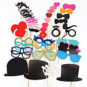Photo Booth rekvisitter 44 stk / satt Photobooth for bryllup bursdagsfest foto messe rekvisitter briller bart leppe på en pinne