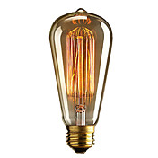 1pc 40W E27 E26 / E27 E26 ST64 Varm hvit 2300k Glødende Vintage Edison lyspære 110-220V 220-240V
