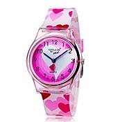 Reloj de Pulsera Cuarzo Cool Colorido Plastic Banda Analógico Heart Shape Caramelo Casual Rosa - Rosa