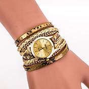 Mujer Reloj de Pulsera Reloj Pulsera Reloj de Moda Cuarzo Colorido PU Banda Vintage Casual Leopardo Bohemio Cool Negro Blanco Azul Plata