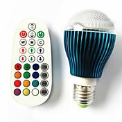 GU10 E26/E27 B22 LED-globepærer A60(A19) 3 leds Høyeffekts-LED Fjernstyrt Mulighet for demping Lydaktivert RGB 450lm RGBK AC 100-240V