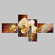 Hang malte oljemaleri Håndmalte - Blomstret / Botanisk Klassisk Moderne Fire Paneler