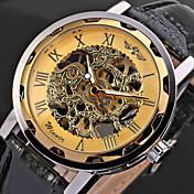 WINNER Hombre Reloj Esqueleto Reloj de Pulsera El reloj mecánico Cuerda Manual Huecograbado PU Banda Cool NegroBlanco / azul Negro/Azul