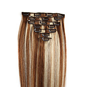 Con Clip Extensiones de cabello humano Cabello natural Corte Recto 7pcs / paquete 8pcs / paquete 16 pulgadas 18 pulgadas 20 pulgadas 22