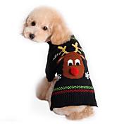 고양이 강아지 스웨터 강아지 의류 귀여운 휴일 크리스마스 순록 블랙