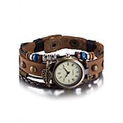 Mujer Reloj de Pulsera Reloj Pulsera Reloj de Moda Cuarzo Resistente al Agua Piel Banda Vintage Bohemio Brazalete Marrón