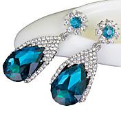 여성 드랍 귀걸이 합성 사파이어 고급 보석 크리스탈 모조 다이아몬드 드롭 보석류 제품 결혼식 파티 일상