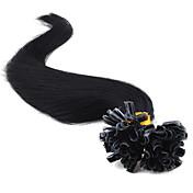 """extensiones de cabello humano 20"""" jet negro (# 1) de punta de 100s de uñas"""