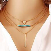 Mujer Collares con colgantes Collares en capas Circonita Legierung Forma de Triángulo Geométrico Dorado Joyas Diario 1 pieza