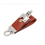 2 en 1 de cuero lápiz de memoria USB 3.0 Flash OTG 32gb unidad de memoria micro USB (marrón) 32gb