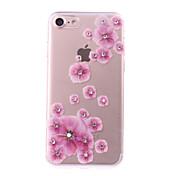 Funda Para Apple iPhone 7 Plus iPhone 7 Diamantes Sintéticos Manualidades Funda Trasera Flor Suave TPU para iPhone 7 Plus iPhone 7 iPhone