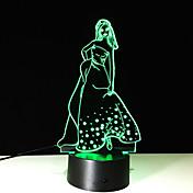 1 개 터치 7 색 소녀 램프 차원 밝은 색상의 비전 스테레오 화려한 그라데이션 아크릴 램프 야간 조명의 비전을 주도