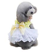Perro Esmoquin Vestidos Ropa para Perro Lazo Amarillo Rosa Raso Disfraz Para mascotas Bonito Moda Boda