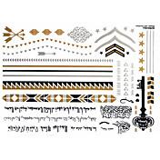 타투 스티커 - 패턴 - 쥬얼리 시리즈 - 여성/Girl/어른/Teen - 골드 - 종이 - #(1) - #(23x15) - #(Arabic text)