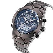 ASJ Hombre Reloj Deportivo Reloj de Pulsera Japonés Cuarzo Despertador Calendario Cronógrafo Resistente al Agua Dos Husos Horarios LCD