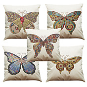 5 PC Lino / Natural / Orgánico Funda de almohada / Cobertor de Cojín, Un Color / Floral / A Cuadros Casual / Estilo playero / Euro