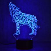 1 pieza Luz nocturna 3D Múltiples Colores USB Con Sensor Regulable Impermeable Color variable