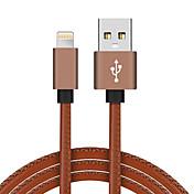Lightning USB 2.0 Trenzado Alta Velocidad Chapado en Oro Cable Para iPhone iPad MacBook MacBook Air MacBook Pro cm Cuero Sintético