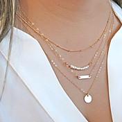 Mujer Forma de Círculo Forma Personalizado Multi capa Moda Collares de cadena Collar con perlas Collares en capas Perla Legierung