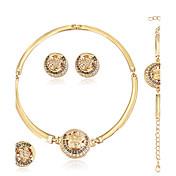 Mujer Brillante Conjunto de joyas Anillos / 1 Collar / 1 Par de Pendientes - Euramerican / Moda Redondo / Forma Geométrica Dorado Juego