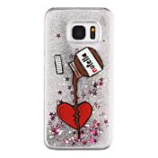 Etui Til Samsung Galaxy S8 Plus S8 Flommende væske Gjennomsiktig Mønster Bakdeksel Hjerte Gjennomsiktig Glimtende Glitter Hard PC til S8