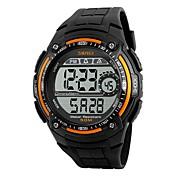 SKMEI 남성용 스포츠 시계 디지털 시계 디지털 방수 스톱워치 PU 밴드 블랙