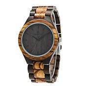 Redear Hombre Reloj Madera Japonés de madera Madera Banda Lujo / Elegante Negro / Marrón / Acero Inoxidable