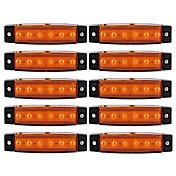 Ziqiao 10pcs 12v 6led side markør indikatorer lys lampe for bil lastebil trailer lastebil 6 led gul / hvit / rød