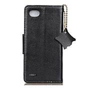 Etui Til LG Kortholder Lommebok Flipp Heldekkende etui Helfarge Hard ekte lær til LG Q6